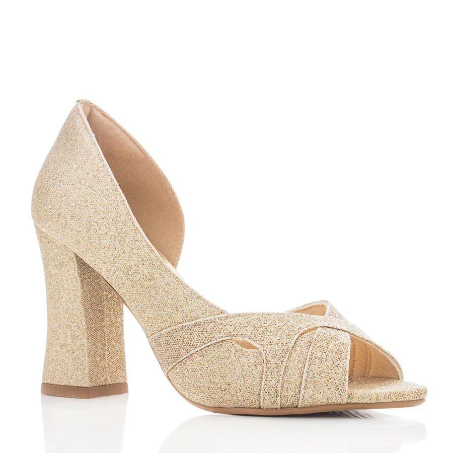 111401c139 Sapato de Festa e Noiva Peep Toe - Colargo Ouro - Santa Scarpa