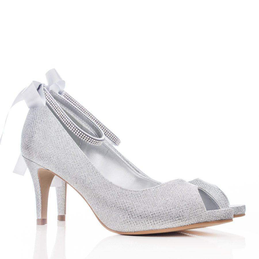 1af816636 Sapato de Noiva e Festa Peep Toe - SS26 Prata - Santa Scarpa